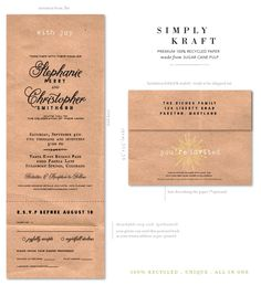 Kraft Paper Wedding Invitations for the hands-on arts and crafts lovers getting married!