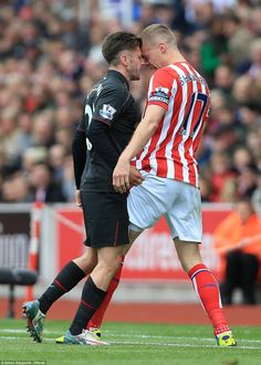 Tempers flared as Lallana (left) and Ryan Shawcross (right) squared up in the final game o...