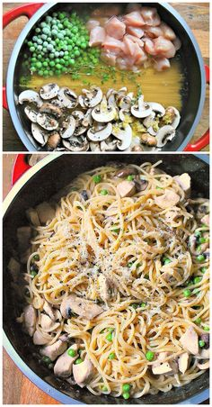 One Pot Chicken  Mushrooms with Pasta, although since I'm paranoid I'd probably cook the chicken separately.