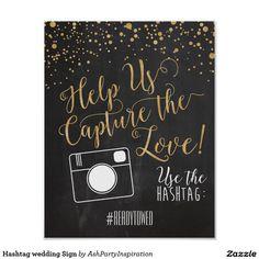 Hashtag wedding Sign Poster