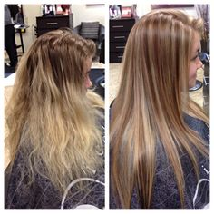 Before and after... Summer blonde to fall fun blonde. Very pretty and dimensional. Hair by me :)