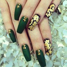 Deep green matte and gold nails with gold Sawrovski crystals.
