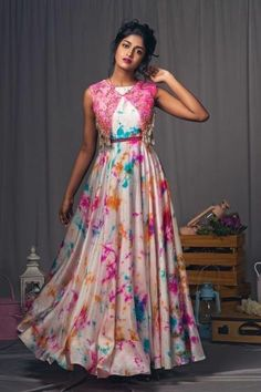 Multicolor Digital Printed Satin Coldshoulder Gown With Jacket Girls Frock Design, Long Dress Design, Stylish Dress Designs, Designs For Dresses, Stylish Dresses, Shrug For Dresses, Indian Gowns Dresses, Indian Fashion Dresses, Indian Designer Outfits