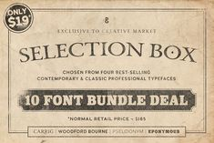 Selection Box – 10 Font Bundle by Paulo Goode Selection Boxes, The Selection, Business Brochure, Business Card Logo, Professional Fonts, Sans Serif Typeface, Open Type, Slab Serif, European Languages