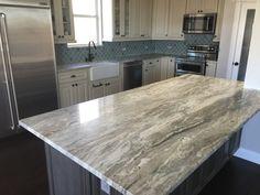 White Cabinets White Countertops, Granite Countertops Colors, Granite Kitchen, Kitchen Countertops, Countertop Paint, White Granite, Kitchen Cupboards, Kitchen Island, Brown Kitchens