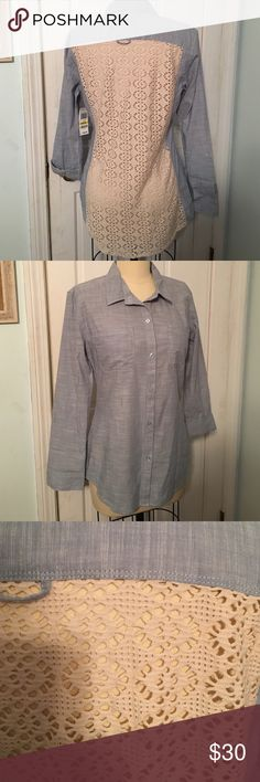 American Rag shirt with lace back size M This button down shirt is from American Rag and is a size M. Fabric is 100% cotton. Back is lace that is sheer. New with tags. American Rag Tops Button Down Shirts