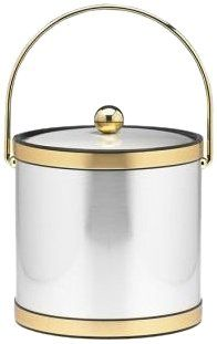 Kraftware Mylar Brushed Chrome and Brass 3Quart Ice Bucket with Bale Handle Bands and Metal Cover ** More info could be found at the image url.