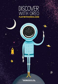 As part of its 'Play With Oreo' campaign, Oreo commissioned 10 artists to create a series of illustrated ads revolving around the concept. Ads Creative, Creative Advertising, Advertising Design, Advertising Campaign, Kids Branding, Branding Design, Food Branding, Oreo, Food Poster Design
