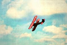 Airplane sky clouds boy nursery vintage red by SouthernHippie, $30.00