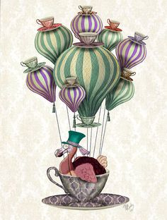 Dodo Bird in Teacup Hot Air Balloon Print Print from an original artwork by LoopyLolly / FabFunky.