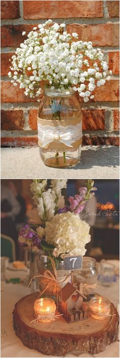 Mason Jar Crafts and Ideas for Rustic Weddings #wedding #weddingideas #weddinginspiration #weddingcakes #deerpearlflowers