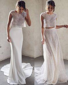 Moda Woow 😍 1 or 2 ? dresses by . Dream Wedding Dresses, Wedding Gowns, Civil Wedding, W Dresses, Formal Dresses, Bridal Looks, The Dress, Dream Dress, Bridal Collection