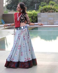 Elegance is the only beauty that never fades.One more elegant design. Garba Dress, Navratri Dress, Lehnga Dress, Lehenga Choli, Saree, Indian Gowns Dresses, Indian Fashion Dresses, Indian Designer Outfits, Stylish Blouse Design