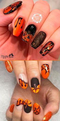 Check out our tips for applying top Halloween nail ideas in 2019 between pumpkin nails, candy corn nails, spider web nails, Halloween press on nails, & stickers Holloween Nails, Halloween Acrylic Nails, Halloween Nail Designs, Halloween Ideas, Candy Corn Nails, Cotton Candy Nails, Cute Nails, Pretty Nails, Hair And Nails