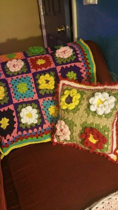 My crocheted blanket and matching pillow