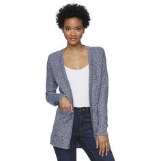 Juniors' SO® Open Long Sleeve Cardigan, Girl's, Size: XL, Blue