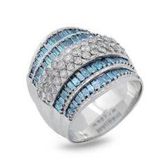 #Malakan #Jewelry - Platinum-Silver Ladies Ring with Treated Blue Diamonds 88548A2 #Fashion #FashionRings #WomensFashion