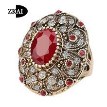 Hoge kwaliteit fashion vintage sieraden oude vergulde top aaa hars antieke ringen voor vrouwen crystal anillos bague relatiegeschenken(China…