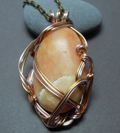 Acadia Sea Stone Necklace in Rose Gold & by sojourncuriosities, $50.00