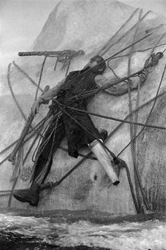 """John Huston's film """"Moby Dick""""after the novel by Herman Melville, starred Gregory Peck,Orson Welles, Friedrich Ledebur and Richard Basehart.Captain Ahab (Gregory Peck) entangled in the ropes of his harpoon, is drowned by the White Whale. Cinema Video, Captain Ahab, Bateau Pirate, John Huston, Gregory Peck, Dick Gregory, White Whale, Photographer Portfolio, Sea Monsters"""