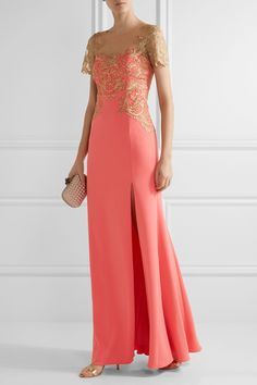 Marchesa Notte | Embroidered tulle and stretch-crepe gown | NET-A-PORTER.COM