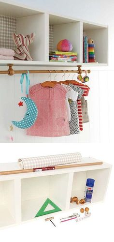 Mommo design: ikea hacks - billy shelf as cloth rack kids room nursery kinderkamer babykamer planken kast