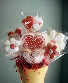 Valentine Heart & Flower Cookie Bouquet, Find us on Facebook: Sugar Sanctuary   Flickr - Photo Sharing!