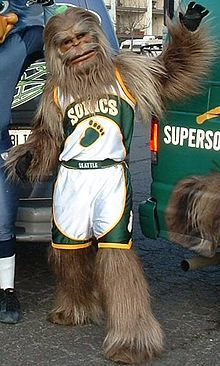 The Seattle Sonics Mascot before the team moved to Oklahoma City and became the Thunder.