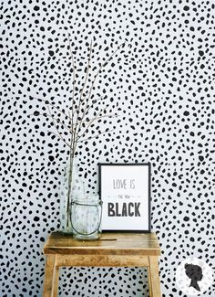 SALE 20% Dalmatian Spot Pattern Peel and Stick Removable Wallpaper M1002