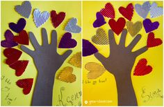 St Valentines day kids craft ideas. Love tree with cardboard hearts