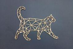 Geometric Drawing, Geometric Wall, Geometric Shapes, Chat Origami, Origami Cat, Book Binding, String Art, Home Deco, Home Art