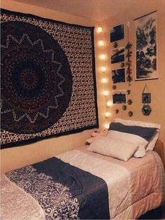 Imagem através do We Heart It #bed #bedroom #boho #decor #hipster #indie #tapestry #tumblrroom