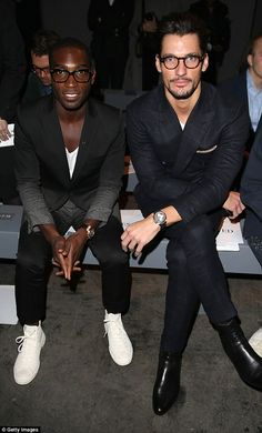 Looking good: Tinie and David sport very similar looks in an impressive display of synchronised style.