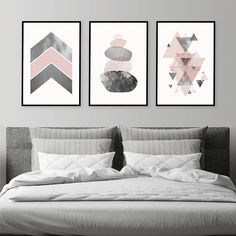 Set of 3 downloadable prints pink grey silver Printable