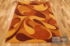 RO507 Soft Ware Reds:for the Retro, and rich home. custom made wool 'funky' rug.