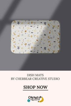 Terrazzo Dish Mat by Cherbear Creative Studio Design Textile, Fabric Design, Pattern Design, Sustainable Living, Sustainable Fashion, Sarah Walker, Eco Friendly House, Etsy Business, Keep An Eye On