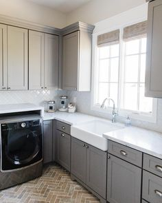 A crisp clean laundry room... with brick floors... would make doing laundry more enjoyable, right? 📷: @danielkimphoto #design #build… Small House Kitchen Ideas, Kitchen On A Budget, Black Kitchen Cabinets, Black Kitchens, Laundry Room Design, Kitchen Design, Laundry Rooms, Mud Rooms, Country Cupboard