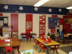 Patriotic Themed Classroom - Ideas & Printable Classroom Decorations Patriotic Themed Classrooms -Classroom Theme Series Source by . History Classroom Decorations, Classroom Decor Themes, Classroom Design, Classroom Organization, Classroom Ideas, Organization Ideas, Red Classroom, Superhero Classroom, Classroom Projects