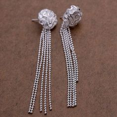 Luxury Flower 18K White Gold Plated Long Ball Bead Stud Earrings Jewelry A465