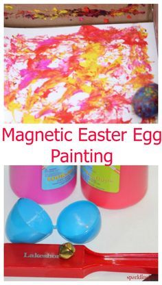 Use plastic Easter eggs and magnet to do this beautiful process art. This process art idea is suitable for preschoolers and toddlers.