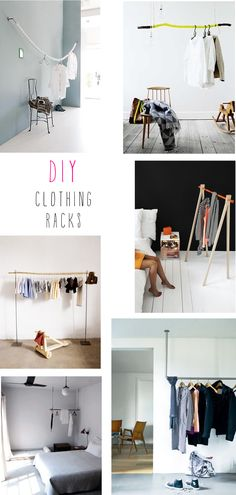 French By Design: DIY : clothing racks. Picturing baseballs on a wire or rope.