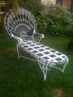 Antique large wirework peacock chair my mother has two chairs identical this - Chaise metal vintage ...