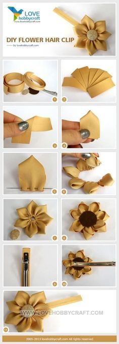 DIY flower hair clip | crafts tutorials by Ada123