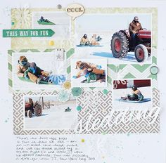 sledding - Scrapbook.com - Fun sledding layout with stitched vellum snowflakes.