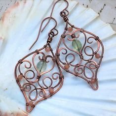 Copper Filigree Prehnite and Moonstone Earrings Artisan Wire Wrapped OwlHollowStudio - Jewelry on ArtFire Wire Jewelry Designs, Jewelry Patterns, Copper Jewelry, Beaded Jewelry, Copper Wire, Copper Bracelet, Beaded Rings, Pendant Jewelry, Wire Crafts