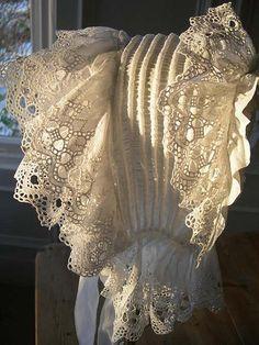 French Antique Lace Whitework Bonnet Left Side by mondas66, via Flickr
