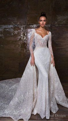 crystal design 2018 long sleeves sweetheart neckline full embellishment glamorous sheath wedding dress a line overskirt royal train (penelopa) mv -- Crystal Design 2018 Wedding Dresses View the gorgeous gowns from three stunning collections! Dresses Elegant, Stunning Wedding Dresses, Dream Wedding Dresses, Designer Wedding Dresses, Bridal Dresses, Beautiful Dresses, Elegant Wedding, Couture Wedding Dresses, Perfect Wedding