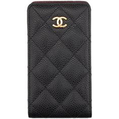Pre-owned Chanel Black Caviar Quilted Leather iPhone 4 Case ($311) ❤ liked on Polyvore featuring accessories, tech accessories, phones, phone cases, cover, fillers and chanel