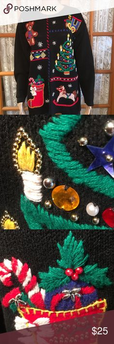 """Ugly Christmas Sweater (not) Amazing Detail L Victoria Jones fabulous sweater. The detail is amazing and is 3-D. The sequins and embroidery is really outstanding. Nothing missing. Bust is 48"""". Length is 29"""". Sleeves are 21"""". Excellent condition and comes from my non smoking home Victoria Jones Sweaters"""