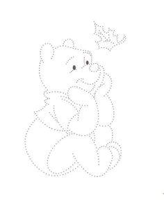 Geborduurde beer met kersttak